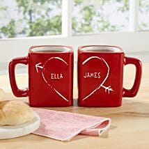Personalised Half Heart Mug Set: Send Valentines Day Gifts to Jersey