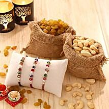 Rakhi Triplet with Dry Fruits: Rakhi with Dryfruits to USA