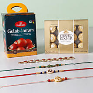 Rakhis With Sweets And Chocolates: Set of 4 Rakhi to USA