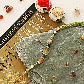 Red Green Jade Quartz Stone Rakhi: Rakhi for Brother in USA