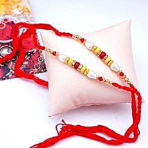 Red N Yellow Beads Rakhi: Send Rakhi to USA