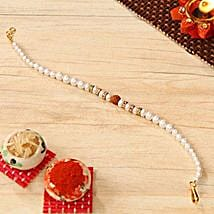 Rudraksh Pearl Beaded Bracelet Rakhi: Rakhi Delivery in USA