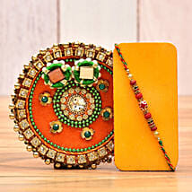 Set Of 2 Fancy Rakhi With Puja Thali: Rakhi Delivery in USA