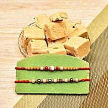 Set Of 2 Rakhi With Soan Papdi: Rakhi to New Jersey