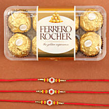 Set Of Traditional Rakhis With Rocher: Send Rakhi to Chicago