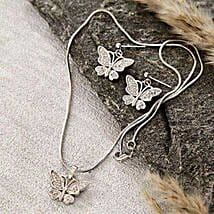Silver Butterfly Pendant Set: Return Gift Delivery in USA
