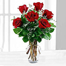 Six Red Roses In A Vase: Send Birthday Gifts to San Diego