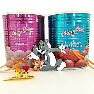 Tom And Jerry Rakhi With Sweets: Send Rakhi for Kids to USA