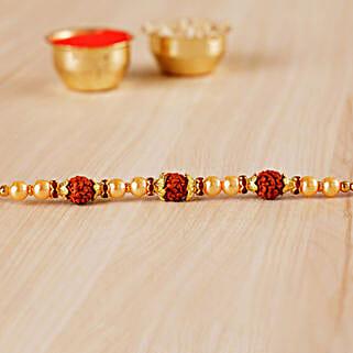 Golden Red Beaded Rudraksh Rakhi: Send Rakhi to Philadelphia