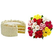Vanilla Cake with Assorted Roses: Cake Delivery in Cincinnati