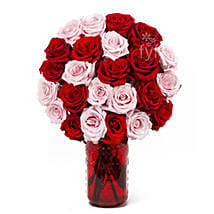 Vase Arrangement Of 24 Red N Pink Roses: Valentine's Day Gifts to USA