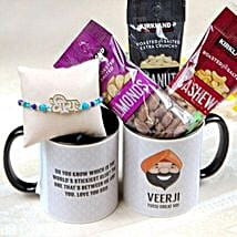 Veera Rakhi with Mug and Nuts: Rakhi to San Jose