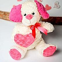 White n Pink Puppy Soft Toy: Return Gifts to USA