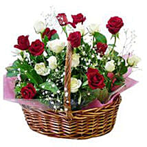 Pure Romance 12 Red And White Roses In Basket: Send Rakhi to Vietnam